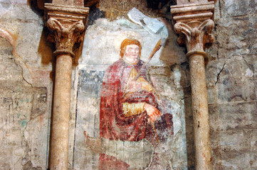 Ancient fresco, mural in the Catholic cathedral of Alba Iulia, R