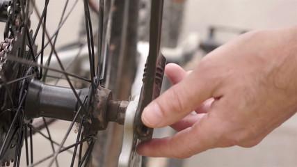 Tightening Wheel Nut on Bike