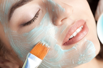 Moistening Facial mask. Close-up