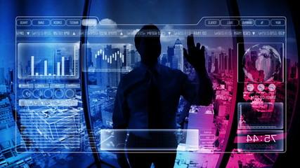 Businessman, digital, touchscreen, technology, business, motion, graphics, city
