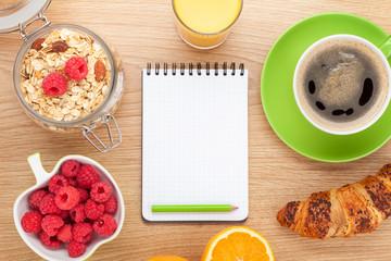 Healthy breakfast with muesli, berries and juice