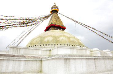 Flags tied up on the top of the Swayambhunath Stupa