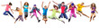 group of happy sportive children jumping - 76917507