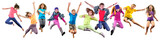 Fototapety group of happy sportive children jumping