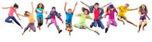 "Постер, картина, фотообои ""group of happy sportive children jumping"""