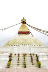 Flower vases kept on the stairs of the Swayambhunath Stupa