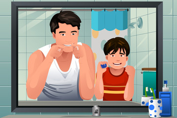 Father teaching his son how to floss