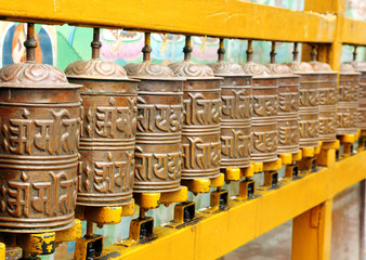 Prayer wheels on the walls of Swayambhunath Stupa