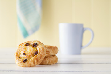 Puff pastry spirals with coffee. Vintage