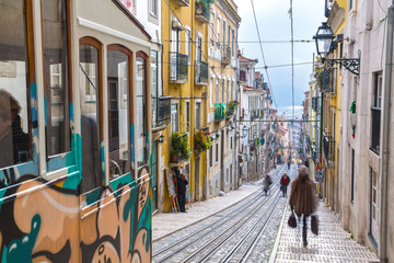 "Lisbon, Portugal, Europe - View from ""Bairro Alto"" tramway stree"