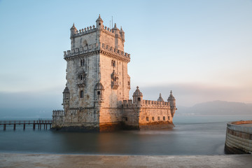 Lisbon, Portugal, Europe - view of the belem tower at sunset (na