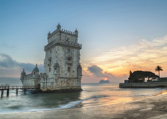 Lisbon, Portugal, Europe - view of the belem tower with a luxury