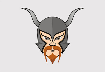 Grey viking helmet vector