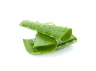 aloe vera fresh leaf. isolated over white background