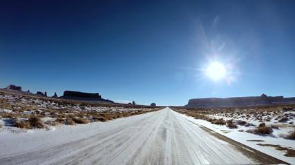 POV winter landscape snow blue sky  Plateau Monument Valley Arizona USA