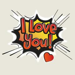 Love, Comic Speech Bubble. Vector illustration