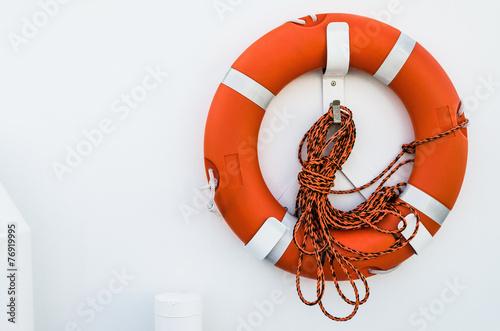 Fototapeta Lifebuoy ring onboard the ship, a close up
