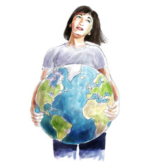Woman carrying the world sketch