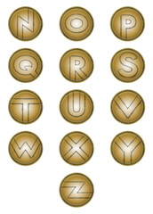 Letters N to Z on bronze shields