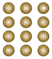 letters A to M on bronze shields