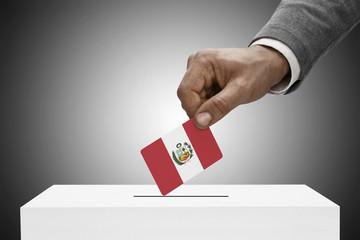 Ballot box painted into national flag colors - Peru