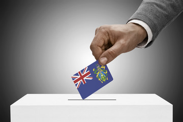 Ballot box painted into national flag colors - Pitcairn Island