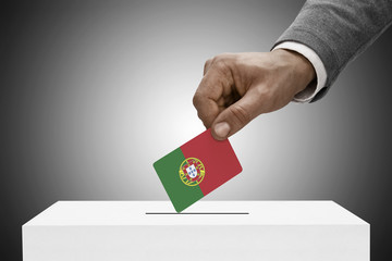 Ballot box painted into national flag colors - Portugal