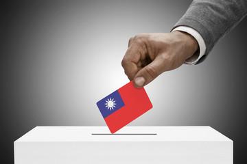 Ballot box and national flag - Republic of China - Taiwan