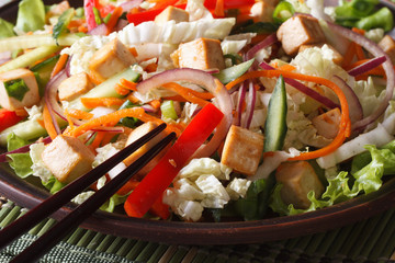 Healthy salad with tofu and fresh vegetables macro horizontal