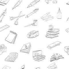 seamless texture school textbook pen notebook vector