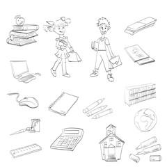 pupil, textbooks, school, vector