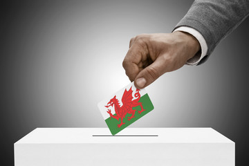 Ballot box painted into national flag colors - Wales