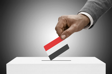Ballot box painted into national flag colors - Yemen