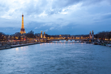 Eiffel Tower and Pont Alexandre III at dusk, Paris