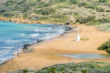 Ramla Beach on the northern side of Gozo, Malta