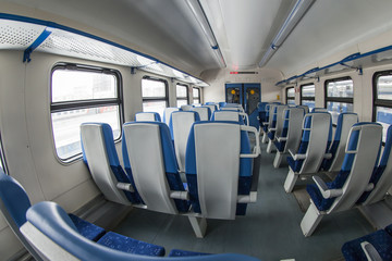 Interior of the car of a regional train