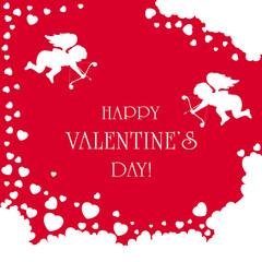 Cupids on Valentines background