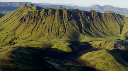 Aerial extreme terrain mountain region wilderness volcanic arctic Iceland