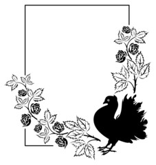 Vector frame with roses and pigeon silhouette