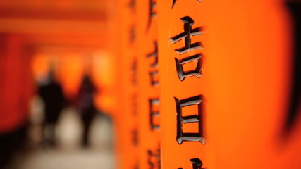 Torii gates Fushimi Inari Taisha  tourists Buddhist temple Kyoto Japan