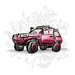 Female pink jeep, sketch for your design