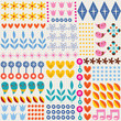 nature hearts flowers dots fun characters seamless pattern