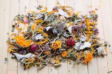 Herbal tea with calendula and dry berries
