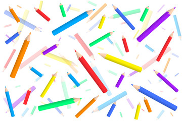 vector pattern with colored pencils a mess