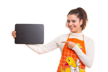 Woman with menu board