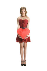 Pin-Up Girl Holding the Red Heart Shape Gift Box