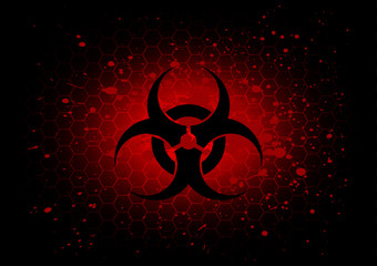 Abstract  biohazard symbol dark red background