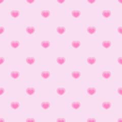 Pink seamless polka hearts vector pattern.