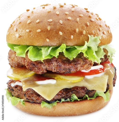 Hamburger isolated on a white background. Clipping paths.
