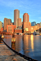 Boston Skyline with Financial District and Harbor at Sunrise